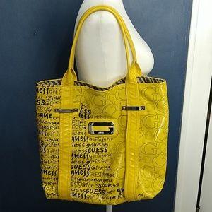 Guess Yellow Vintage-looking Logo Bag